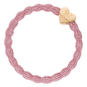 bracelet elastique cheveux byEloise coeur metallic rose