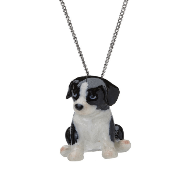 And Mary, collier pendentif en porcelaine Chiot Border collie - cassisroyal.com