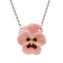 And Mary, collier pendentif en porcelaine Pensée rose - cassisroyal.com