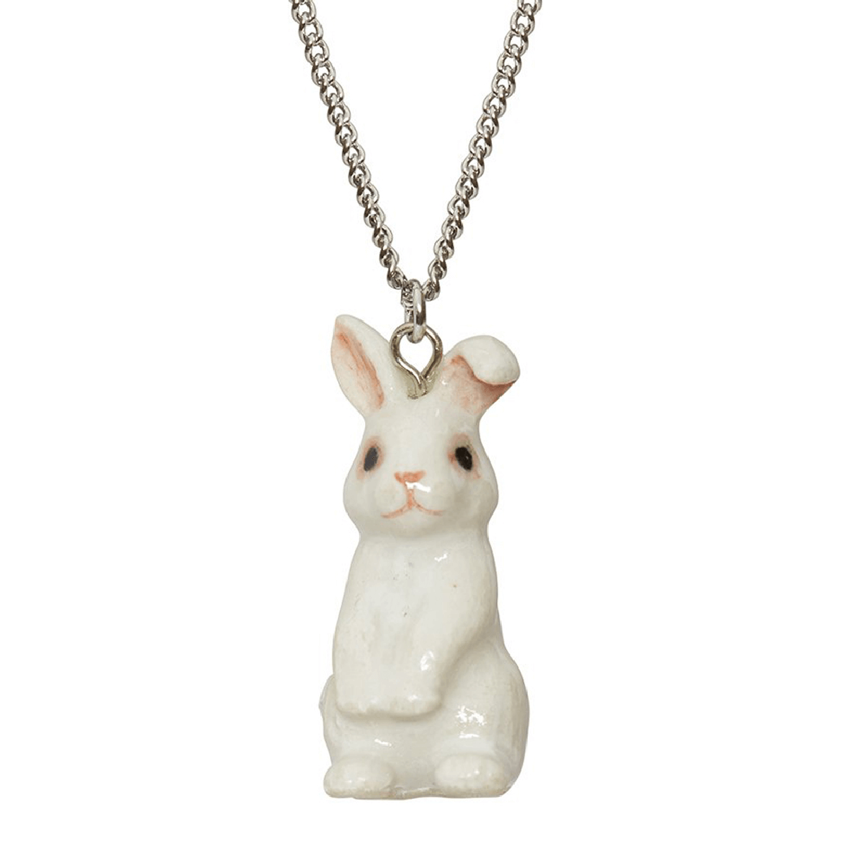 And Mary, collier pendentif en porcelaine Lapin blanc assis - cassisroyal.com