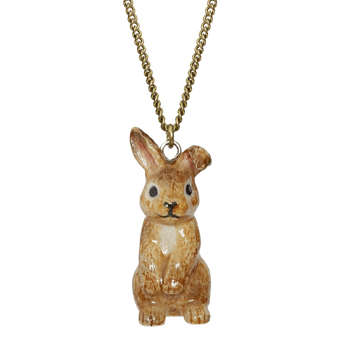 And Mary, collier pendentif en porcelaine Lapin brun assis - cassisroyal.com