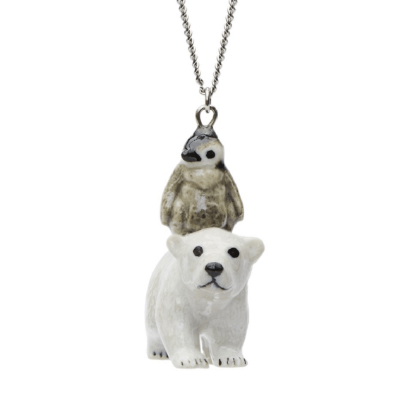 And Mary, collier pendentif en porcelaine Ours polaire & Pingouin - cassisroyal.com