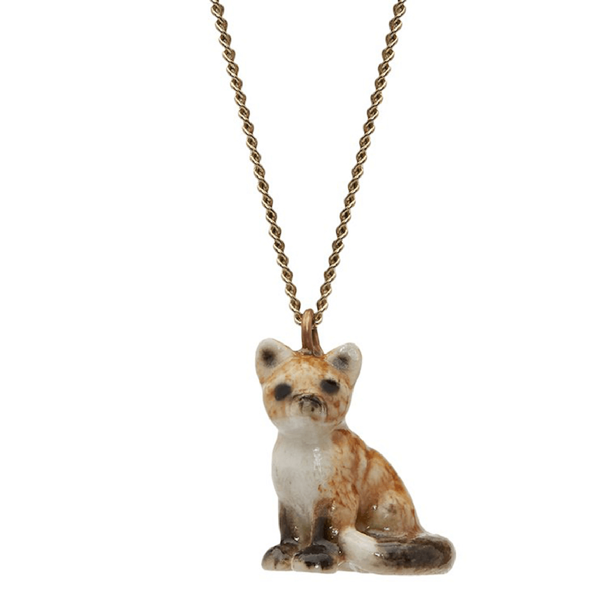 And Mary, collier pendentif en porcelaine Petit Renard assis - cassisroyal.com