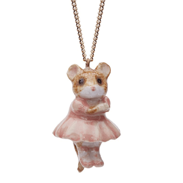 And Mary, collier pendentif en porcelaine Souris ballerine - cassisroyal.com
