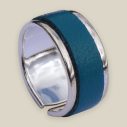 Empreinte Nomade, bague laiton argent cuir Bleu canard - cassisroyal.com