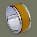 Empreinte Nomade, bague laiton argent cuir Jaune - cassisroyal.com