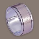 Empreinte Nomade, bague laiton argent cuir Metallic pink - cassisroyal.com