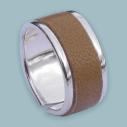 Empreinte Nomade, bague laiton argent cuir Sable - cassisroyal.com