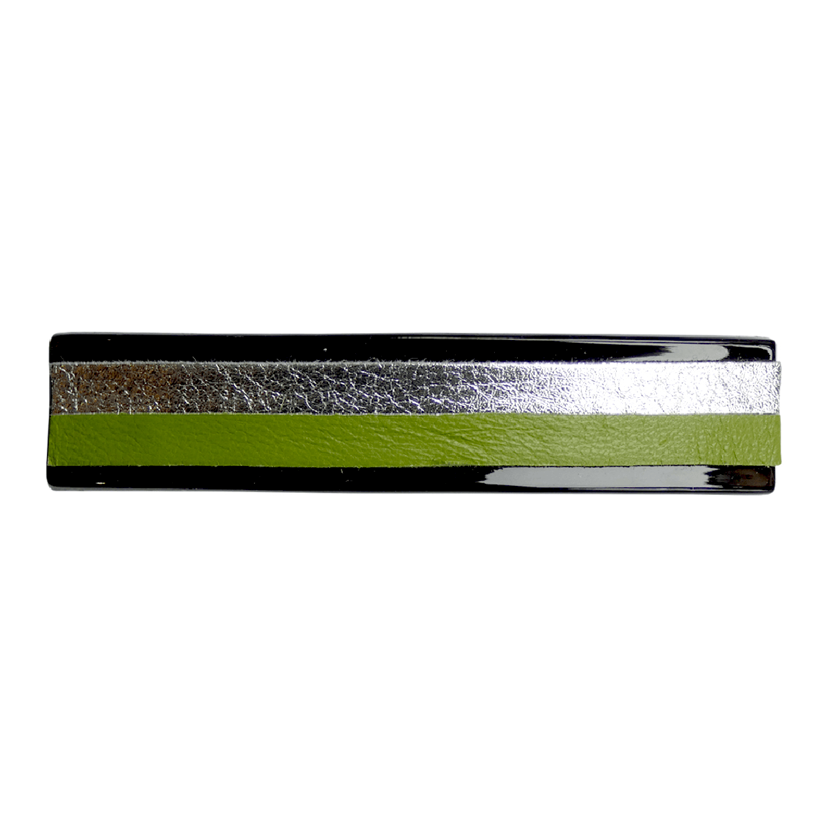 Empreinte Nomade, barrette Clémence Cuir Vert & Argent - cassisroyal.com