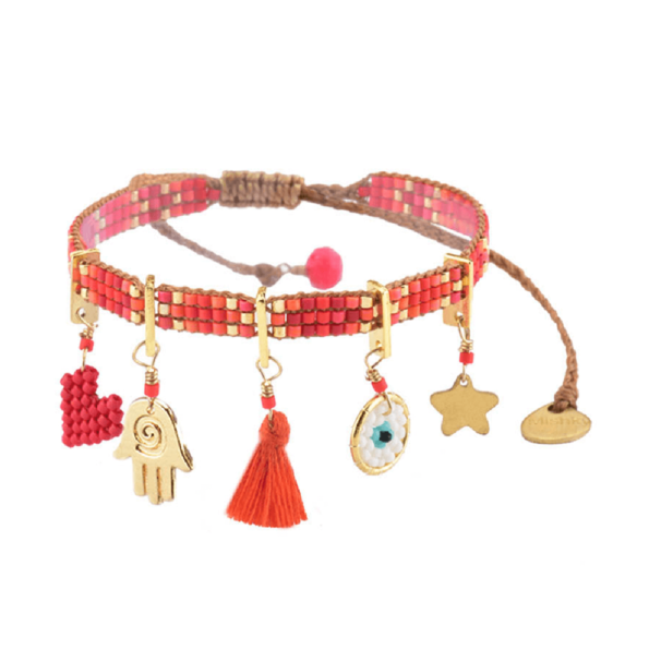 MISHKY, Bracelet Charmy Rouge, Orange, Or - cassisroyal.com