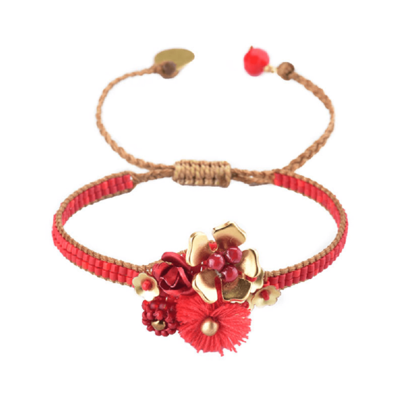 MISHKY, Bracelet Fiori small Rouge, Argent, Corail - cassisroyal.com