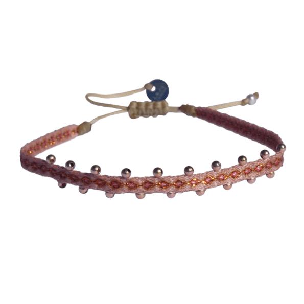 LEJU, Bracelet billes rose poudré & gold - cassisroyal.com