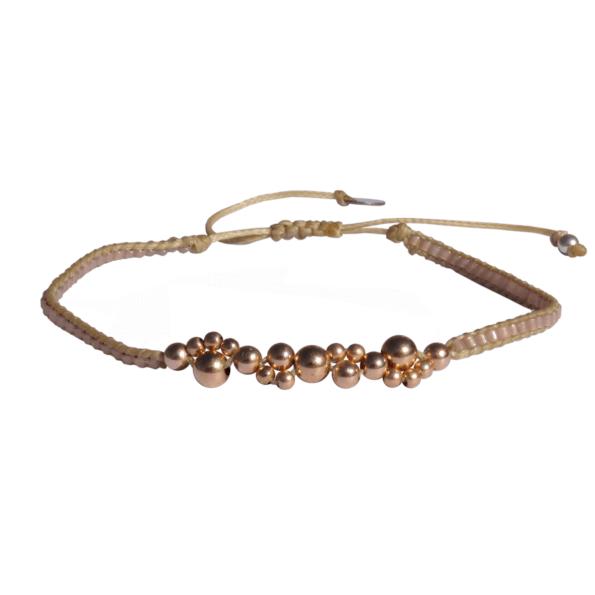 LEJU, Bracelet bubble beige & copper - cassisroyal.com