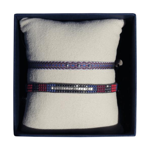 LEJU, duo de bracelets Homme en perles et tissus - cassisroyal.com