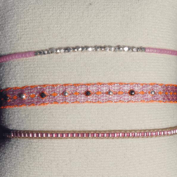 LEJU, trio de bracelets en perles et tissus rose & orange - cassisroyal.com