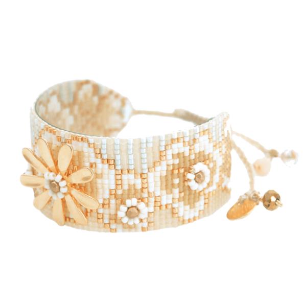 MISHKY, Bracelet Aster fleur medium Blanc, Or - cassisroyal.com