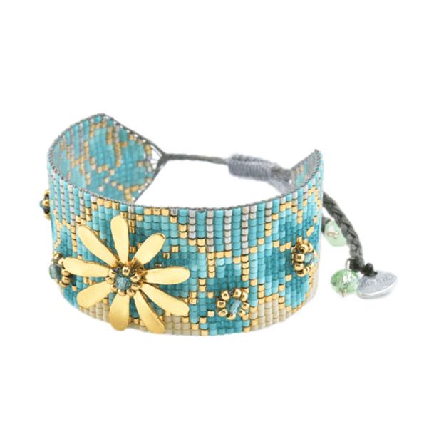 MISHKY, Bracelet Aster fleur medium Turquoise, Or, Gris - cassisroyal.com